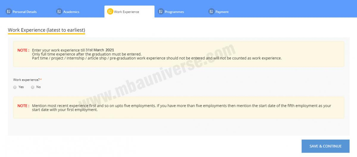 xat registration work experience