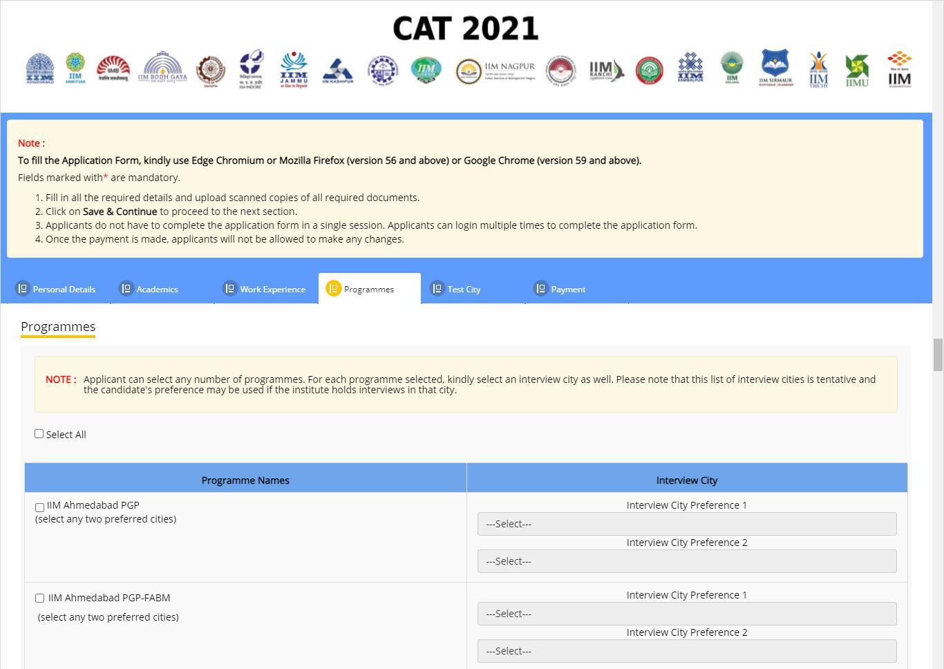 CAT Programmes