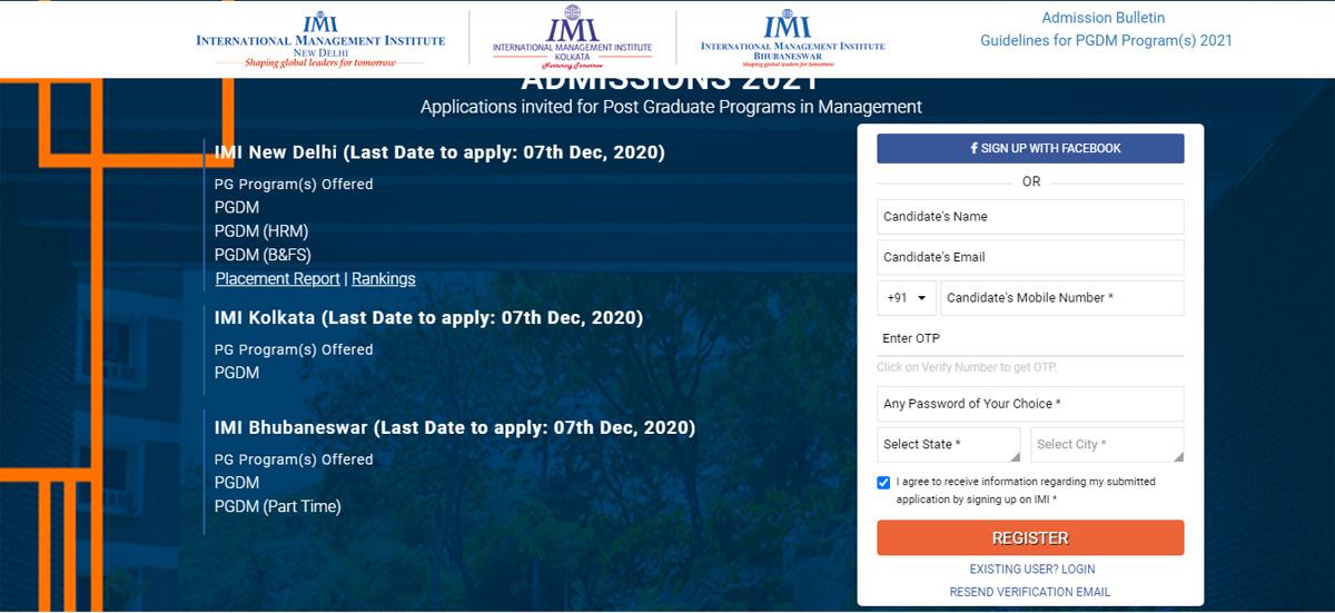 IMI New Delhi Application Process 1