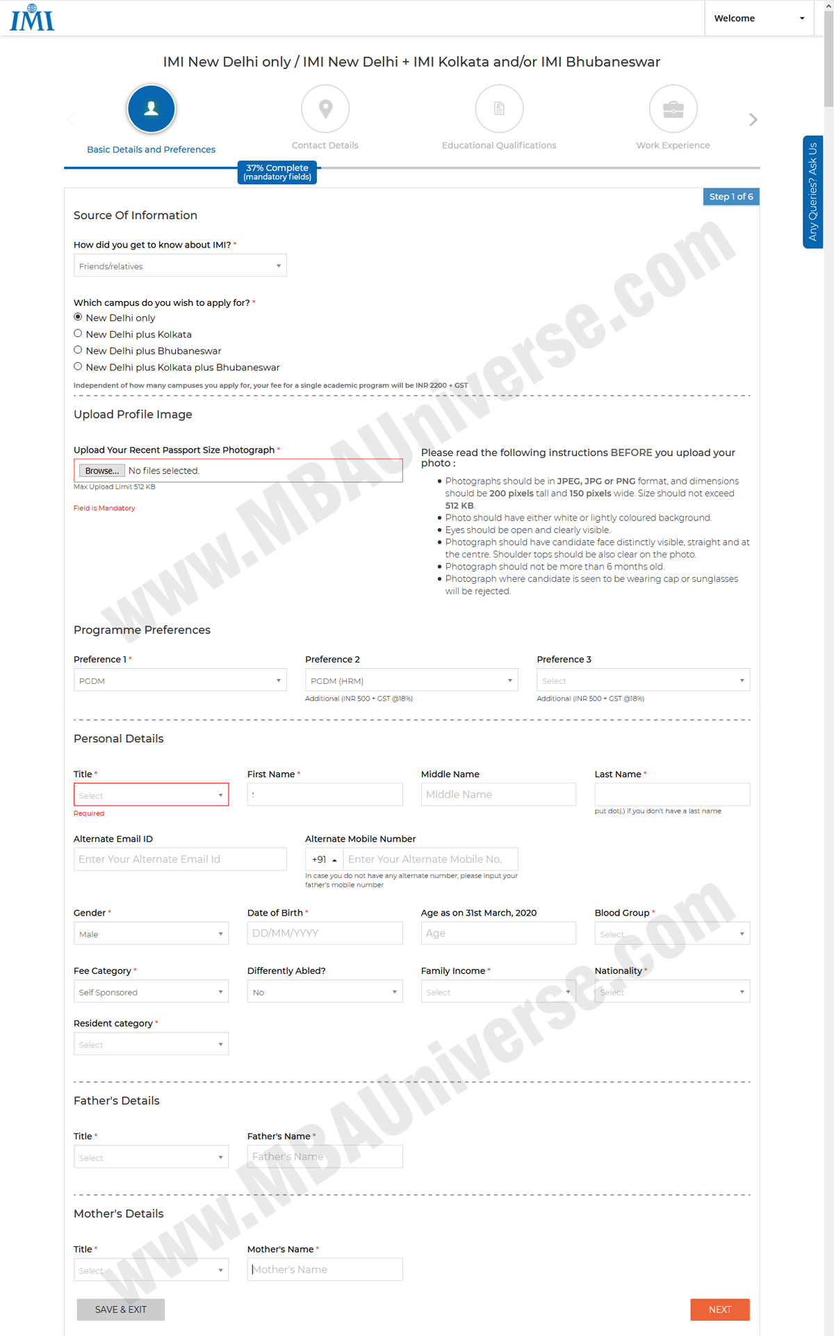 IMI New Delhi Application Process