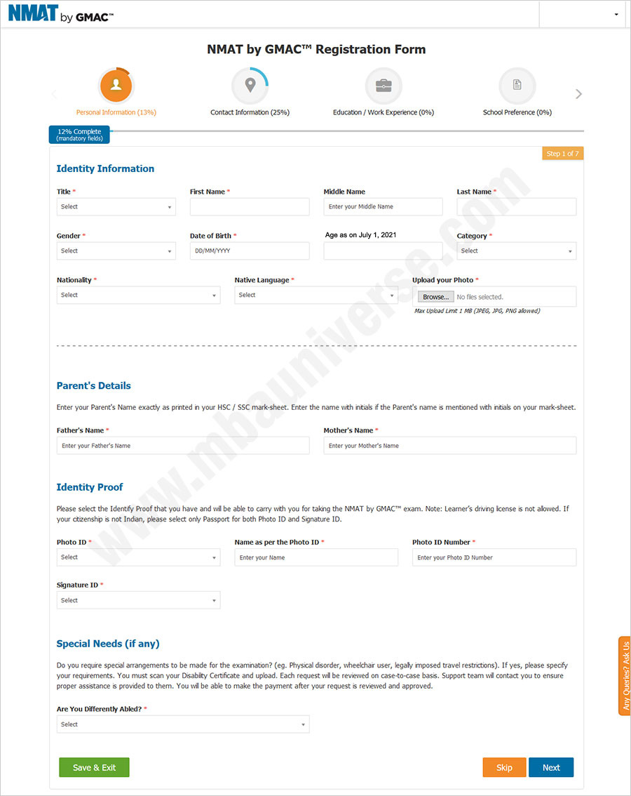 NMAT Registration Process