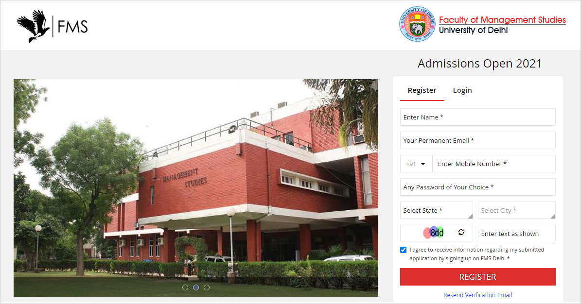 How to apply for FMS Delhi Admission Steps 1
