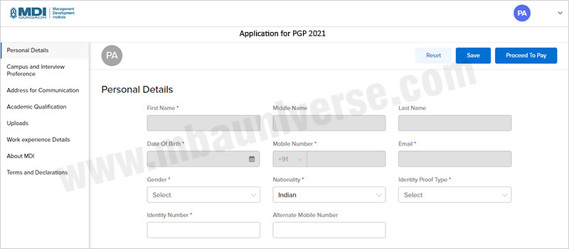 MDI Gurgaon Application Process Step 1