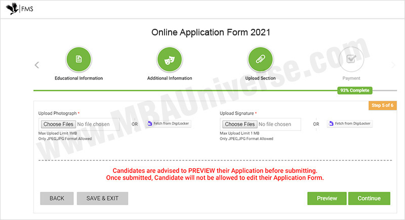 How to apply for FMS Delhi Admission Steps 7