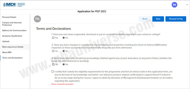 MDI Gurgaon Application Process Step 9