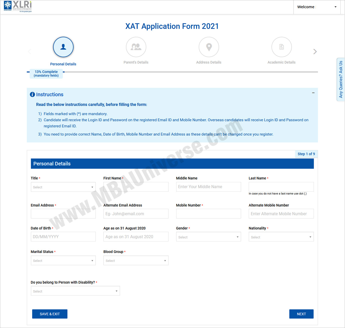 xat registration academics