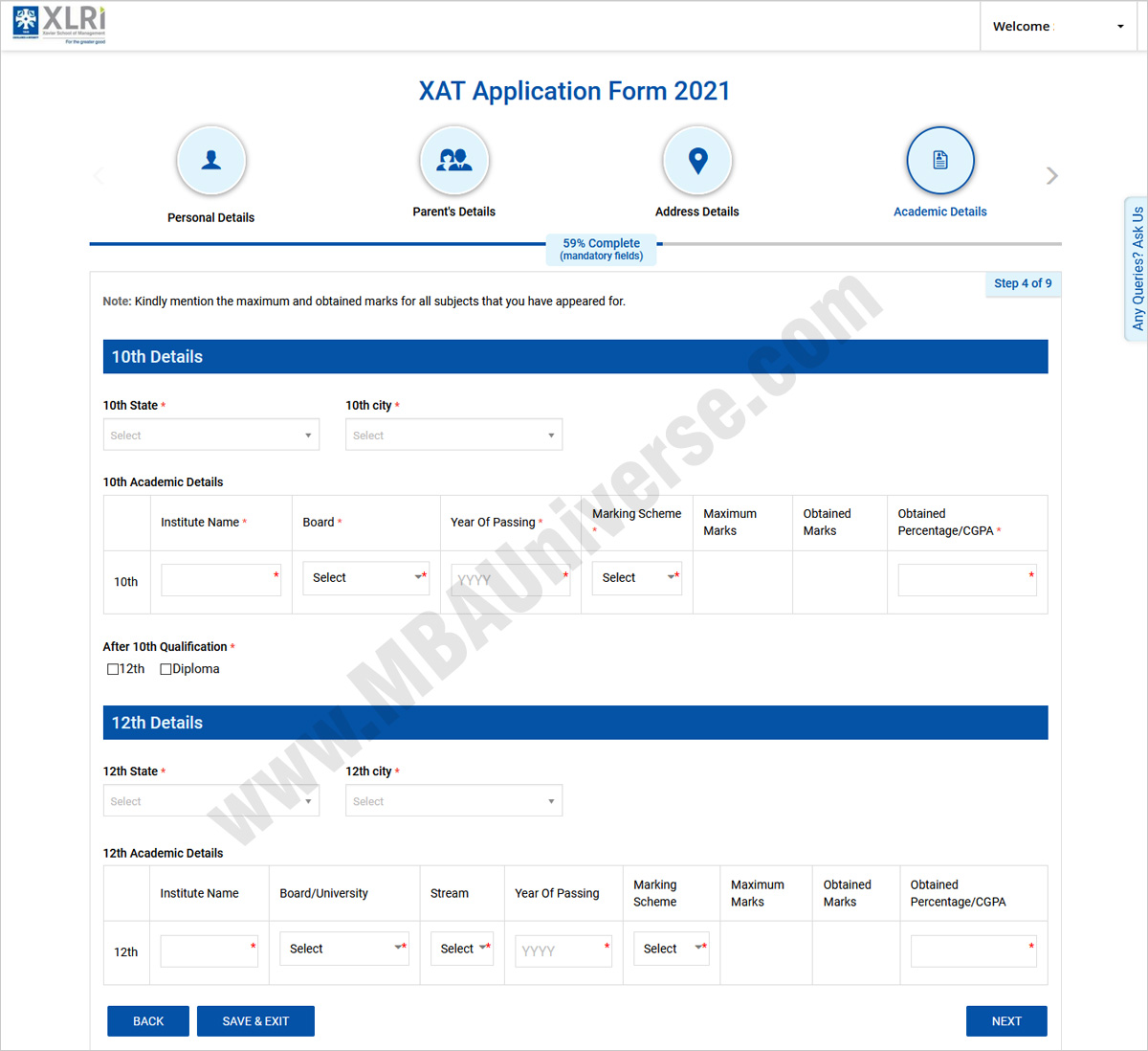xat registration payment