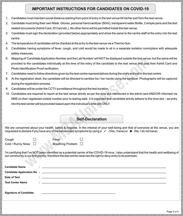 Check Covid 19 Instructions For Cat 2020 What To Carry Avoid Fitness Certificate